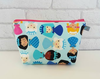 Blue Princess Wash Bag / Wet Bag / Girls Make Up Bag / Children's Toiletry Bag