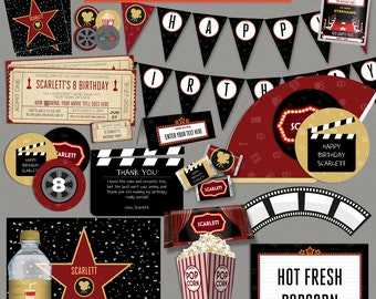 Movie Party Decorations & Movie Ticket Invitation - Movie Night - Movie Night Party - Print and edit using Adobe Reader