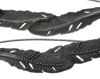 """Zinc Based Alloy Pin Brooches Feather Antique Silver - 3 2/8"""" x 7/8"""""""