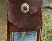 Country Western Leather Handbag -  Leather + Hair-On Cowhide with Horse Bit + Vintage Concho OAKLEY - Leather fringe handbag, purse, cowgirl