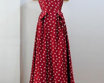 Heart Printed Maxi Dress with Pleat Details At Waist - Open Back Maxi Dress with Embellished Waist and Cap Sleeves - Red Maxi Dress CO10