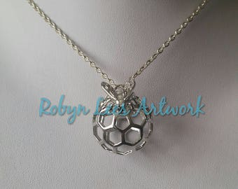 Large Silver Honeycomb Hive Ball Necklace with 3D Bee Honeybee on Silver Chain, Black Cord or Braided Brown Cord. Nature, Insect, Wasp