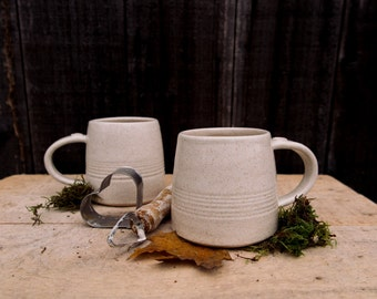 handmade cup, stoneware speckled cream