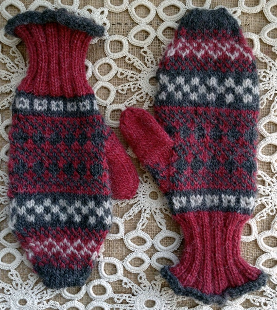 Knitting patterns, knitting, knitted mittens, mittens, fair isle ...