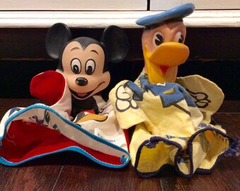 Two Vintage Disney's Donald Duck and Mickey Mouse Hand Puppets, Disney Puppets, Vintage Disney Collectibles, Donald Duck, Mickey Mouse