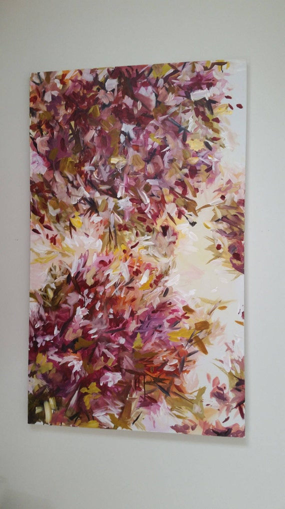 large abstract floral painting huge painting beautiful floral art pink yellow lavender pruple violet xl abstract painting Marcy chapman