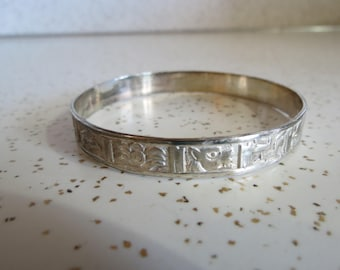 Taxco Mexican Silver Bangle Bracelet with Hieroglyphic Design