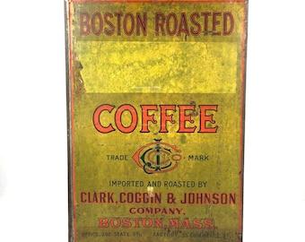 Large Antique Coffee Bin 1920s Boston Coffee Canister Clark Coggin and Johnson Boston Massachusetts Antique Coffee Bin Large