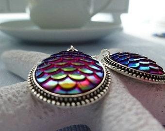 Red scale earrings. Dragon Scale. Mermaid scale. Tibetan Silver. Gift Women. Mermaid earrings. Red & silver. Dangle Earrings. Boho style