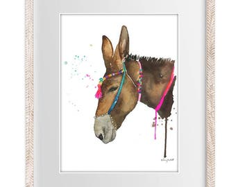 Boho Donkey - Watercolor Painting Print --  Home/office decor and wall art, Animal print of Donkey