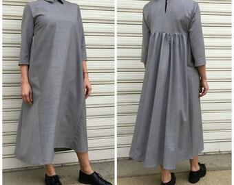 Women Maxi Dress / Grey Oversize Dress with 3/4 Sleevs / Fashion Elegant Dress / Unique Maxi Dress / EXPRESS SHIPPING