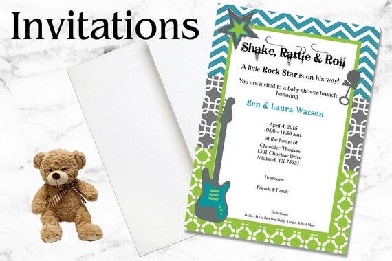 Rock Star Invitations - Baby Boy Shower Invitations - Blue, Green - Party Invitations, Birthday Invitations, Shower Invitations, Printable