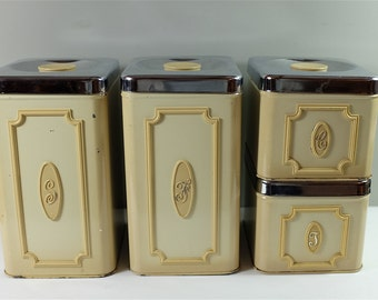 Vintage Ekco Canister Set of Four: Tea, Coffee, Sugar and Flour - Ekco cream canisters - Retro Kitchen Canisters - Farmhouse Decor