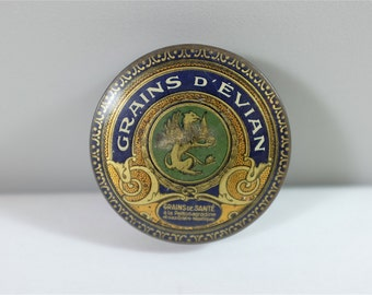 Antique French metal medicine tin pill box - Grains d'Évian - Apothecary pharmacy collectors item - Made in Tours France - Laxative drug