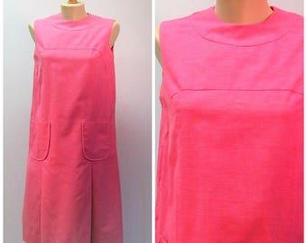 Vintage 60s 70s Bright Pink Drop Waist Shift / Sleeveless Summer Shift  M / M.H. Fine Co.