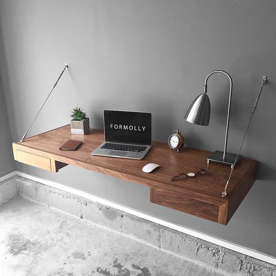 Floating Desk With Storage Walnut Wall Mounted Desk Wall