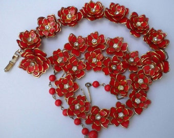Vintage 40s Parure Red Celluloid Flower & Rhinestone Necklace Bracelet Earrings Set FREE Shipping