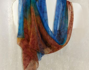 Blue terracotta silk scarf Hand painted Long scarf shawl Hand dyed Colorful sheer chiffon ombre Summer handpainted Wedding scarf Rainbow