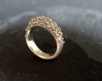 silver coral Ring, organic ring silver, granulation jewelry, nature ring, organic jewelry, ocean jewelry, natural jewelry, organic design