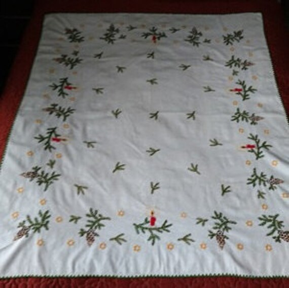 Embroidered  Tablecloth, Winter Tablecloth, Vintage embroidered tablecloth, Winter themed tablecloth, hand embroidered tablecloth,