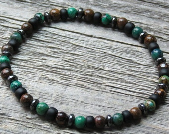 Boy's Azurite/Malachite, Bronzite & Hematite/Magnetite Bracelet or Necklace for Worry, Grief,Negativity, Stress, Anxiety, Fear and Protects!