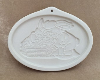 Longaberger Pottery, Cookie Mold, Bunny Series, Grandpa and Herbie, Easter Cookie Mold, Vintage Baking, Stoneware Mold, 1995 Longaberger