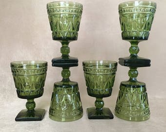 Colony Glass, Park Lane Pattern, Emerald Green, Water Glass, 60s Glamour, Mid Century, Square Base, Heavy, Pressed Glass, Bruch Glassware
