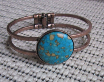 Copper & turquoise stone bangle bracelet boho accessories bohemian southwestern bracelet