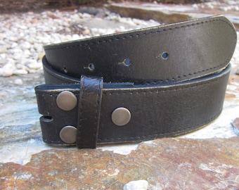 """large distressed black leather snap belt black leather belt strap 1.5 """" black leather belt genuine leather belt mens belt women's"""