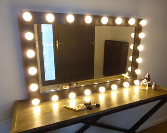 large vanity mirror with lights. XL hollywood mirror  43 x27 handmade vanity with lights Makeup and jewelry organizers mirrors by CraftersCalendar