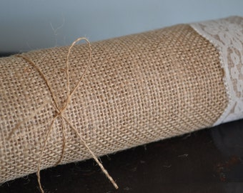Burlap Table Runner with Ivory Lace, 12 inch width and variable sizes