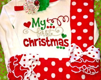 Baby Girl Christmas Outfits, Girl First Christmas Outfit, Girl 1st Christmas Outfit, Girl My First Christmas Outfit, Girl My 1st Christmas