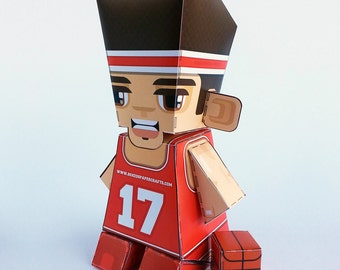 Make your own RED Basketball paper toy - D.I.Y. craft activity kit. Great gift for kids and crafters - DIGITAL DOWNLOAD