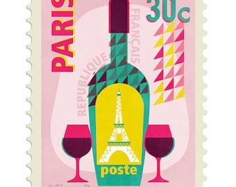 Parisian stamp giclée print