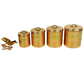 Vintage 1950s New Old Stock in Box Copper and Brass Nesting Kitchen Canisters Set of Four Lidded Containers& Scoops:Tea, Coffee, Sugar,Flour