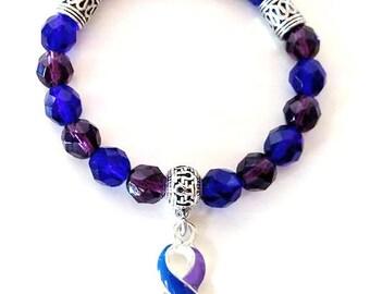 Rheumatoid Arthritis Purple Royal Blue Awareness Ribbon Infinity Glass Beaded Stretch Bracelet
