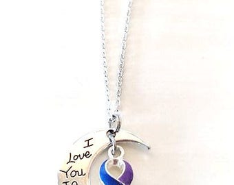 Rheumatoid Arthritis Awareness I Love You To the Moon and Back Necklace You Select Chain Material and Length