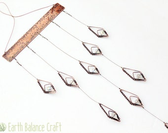 Hanging Mobile, Geometric Decor, Snow Drops, Sparkle, Flower Mobile, Abstract, White Glass Suncatcher, Copper Home Decor, Gothic Wall Art