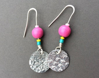 Small round handmade earrings with pink bead