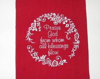 Embroidered Praise Kitchen Towel, Dish Towel, Tea Towel