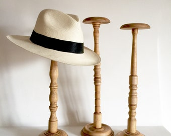 French Antique Wood Hat Stand - TALL size Hat stands 18 inches - Millinery Stand - Wig Stand - Turned Wood Hat Stand - display stands