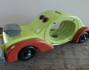 Handmade Wood Toy Bank Hot Rod-Penny Bank