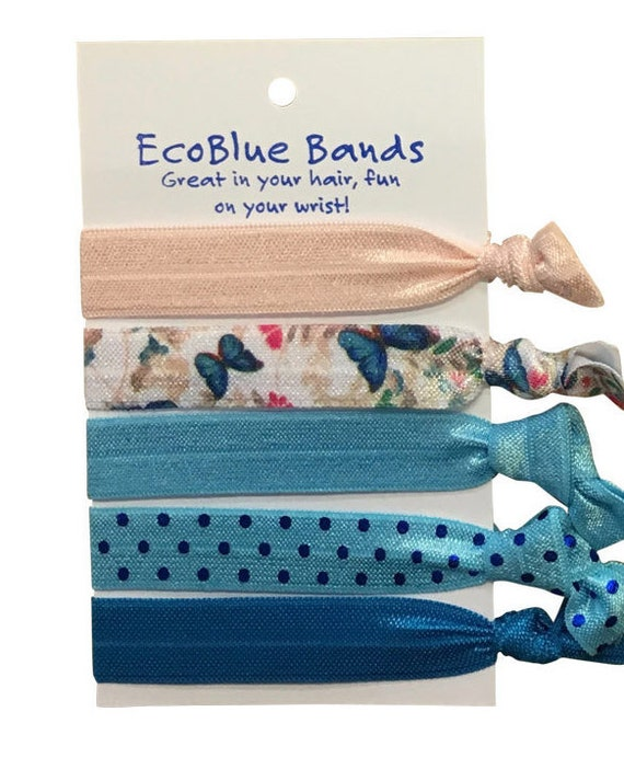 20 soft stretch hair ties, hair elastics, ponies, yoga hair ties, bracelets, ponytail holders - blue mix