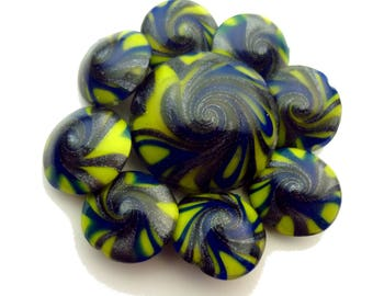 Blue, Neon Green, and Silver Polymer Clay Swirl Lentil Beads- 9 piece
