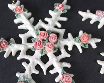 Victorian Rose Sparkle Snowflake Christmas Ornaments Set of 3