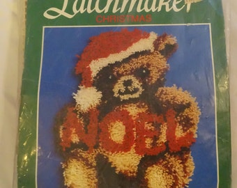 Latchmaker Christmas Bear Noel Latch Hook Rug Kit Free Shipping USA