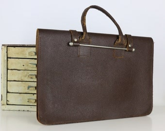 Vintage Satchel Dark Brown Laptop Bag Breifcase