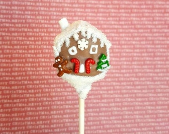 Gingerbread house cake pops. Stocking treats. Christmas treats. Christmas cake pop. Christmas party decor. Tree pop. Snow globe. Gingerbread