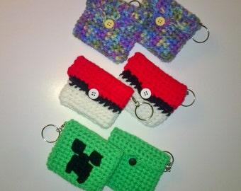 Pouch on keychain/Change holder/Earbud holder/Pokemon/Minecraft