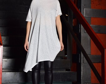 White tunic, extravagant tunic, asymmetric tunic dress, plus size tunic, oversize dress, short sleeved tunic by UM-091-VL
